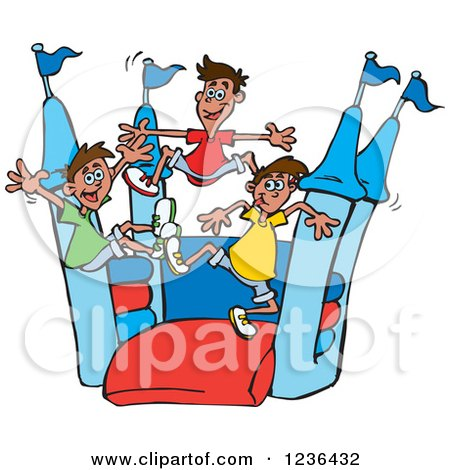 Clipart of Boys Jumping on a Red and Blue Castle Bouncy House 3 - Royalty Free Vector Illustration by Dennis Holmes Designs