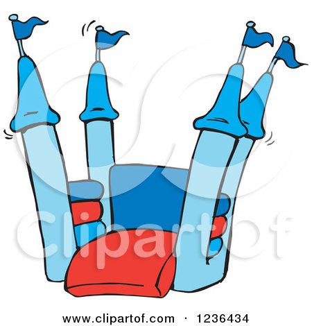 Clipart of a Blue and Red Jumping Castle Bouncy House - Royalty Free Vector Illustration by Dennis Holmes Designs