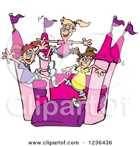 Clipart of a Caucasian Girls Jumping on a Pink and Purple Castle Bouncy House - Royalty Free Vector Illustration by Dennis Holmes Designs
