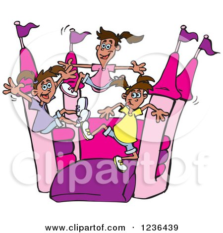 Clipart of a Girls Jumping on a Pink and Purple Castle Bouncy House - Royalty Free Vector Illustration by Dennis Holmes Designs