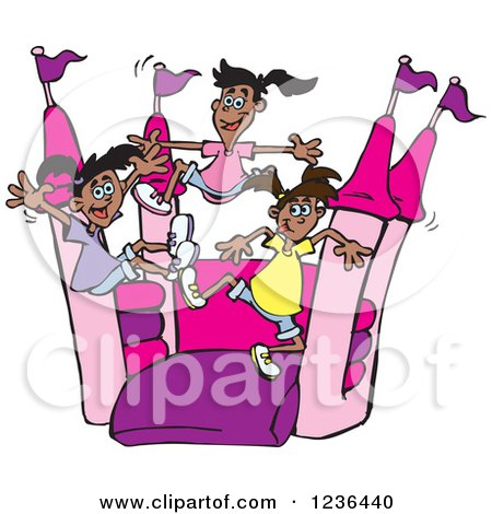Clipart of a Black Girls Jumping on a Pink and Purple Castle Bouncy House 2 - Royalty Free Vector Illustration by Dennis Holmes Designs