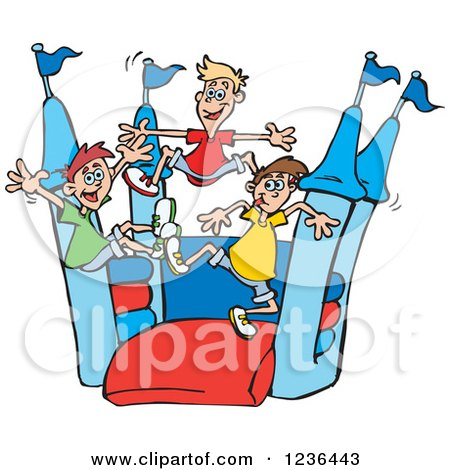 Clipart of Caucaisan Boys Jumping on a Castle Bouncy House - Royalty Free Vector Illustration by Dennis Holmes Designs