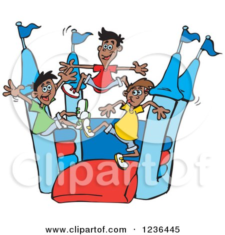 Clipart of Boys Jumping on a Red and Blue Castle Bouncy House - Royalty Free Vector Illustration by Dennis Holmes Designs