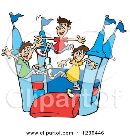 Clipart of Asian Boys Jumping on a Castle Bouncy House - Royalty Free Vector Illustration by Dennis Holmes Designs