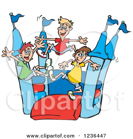 Clipart of Caucaisan Boys Jumping on a Castle Bouncy House 3 - Royalty Free Vector Illustration by Dennis Holmes Designs