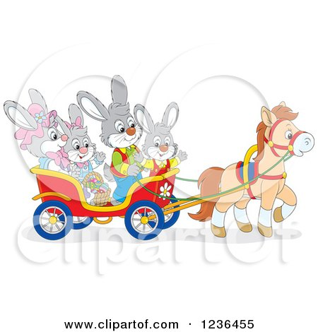 Clipart of a Bunny Family on an Easter Horse Drawn Cart - Royalty Free Vector Illustration by Alex Bannykh