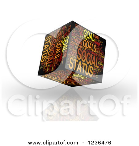 Clipart of a 3d Social Status Goal Cube - Royalty Free Illustration by MacX