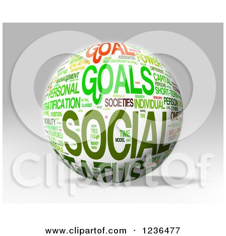 Clipart of a 3d Status Social Goals Sphere - Royalty Free Illustration by MacX