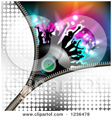 Clipart of a Zipper over a Dancing Crowd on a Vinyl Record Album over Colorful Lights - Royalty Free Vector Illustration by merlinul