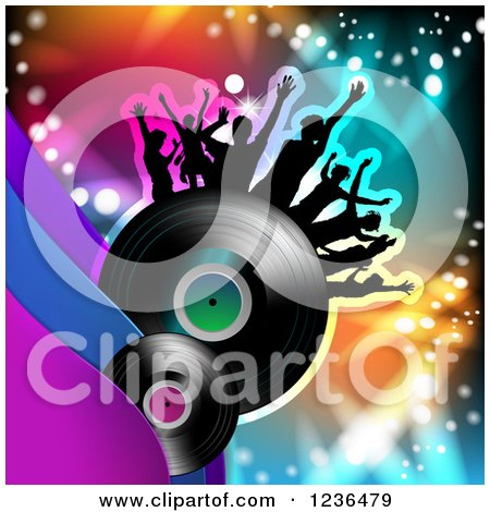 Clipart of a Dancing Crowd on a Vinyl Record Album over Colorful Lights - Royalty Free Vector Illustration by merlinul