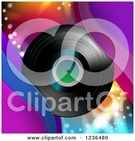 Clipart of a Vinyl Record Album over Colorful Lights - Royalty Free Vector Illustration by merlinul