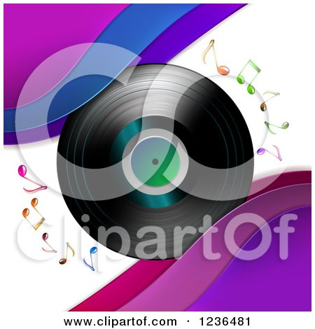 Clipart of a Vinyl Record Album with Music Notes and Waves - Royalty Free Vector Illustration by merlinul