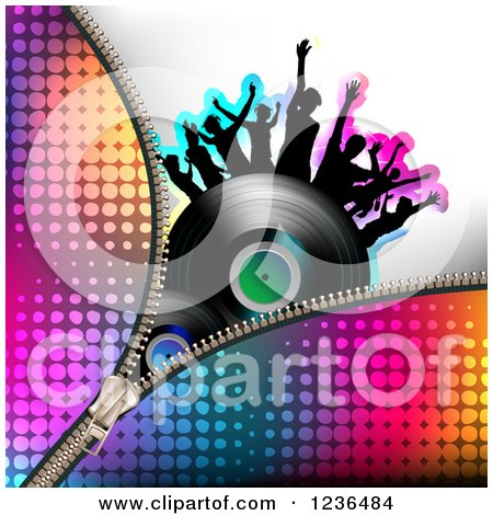 Clipart of a Colorful Zipper over a Dancing Crowd on a Vinyl Record Album - Royalty Free Vector Illustration by merlinul