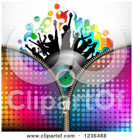 Clipart of a Zipper over a Dancing Crowd on a Vinyl Record Album over Halftone - Royalty Free Vector Illustration by merlinul