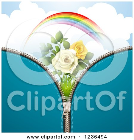 Clipart of a Blue Zipper Background over a Sky with a Rainbow and Roses - Royalty Free Vector Illustration by merlinul