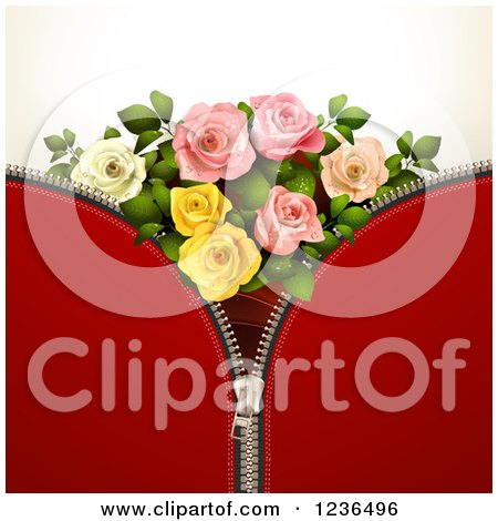 Clipart of a Red Zipper Background with Roses - Royalty Free Vector Illustration by merlinul