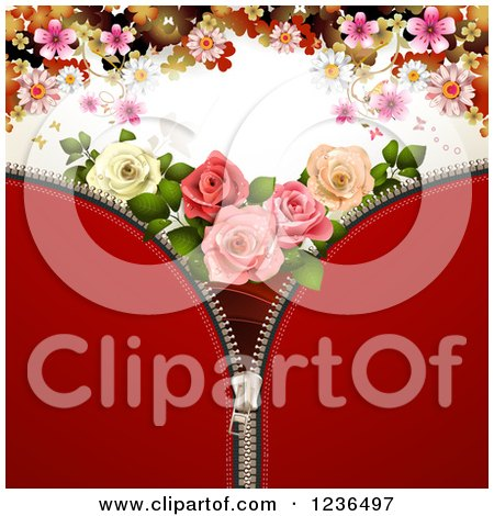 Clipart of a Red Zipper Background with Roses and Flowers - Royalty Free Vector Illustration by merlinul