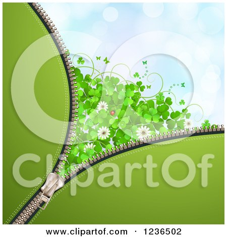 Clipart of a Zipper St Patricks Day Background of Shamrocks Flowers, Butterflies and a Ladybug - Royalty Free Vector Illustration by merlinul