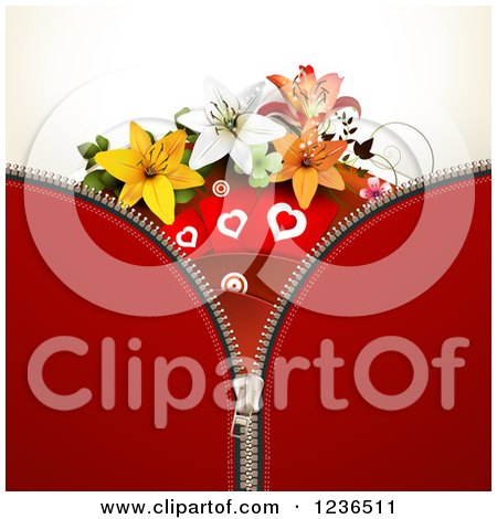 Clipart of a Zipper Background of Red with Hearts and Lily Flowers - Royalty Free Vector Illustration by merlinul