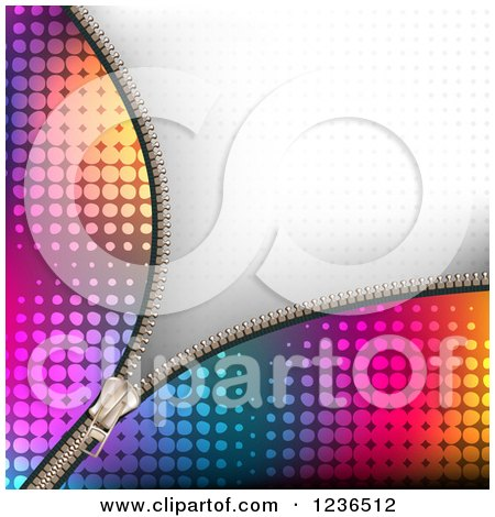 Clipart of a Colorful Zipper Background over Gray Halftone - Royalty Free Vector Illustration by merlinul