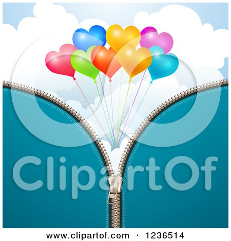 Clipart of a Blue Zipper Background over Heart Balloons and Clouds - Royalty Free Vector Illustration by merlinul