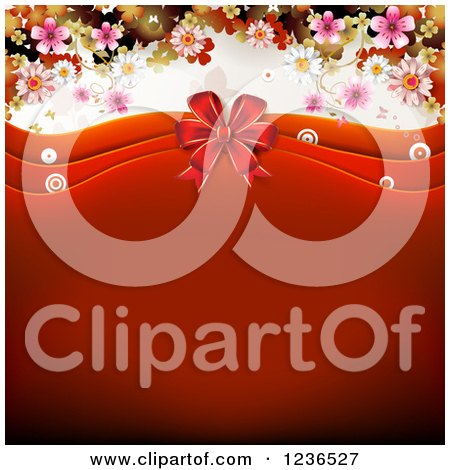 Clipart of a Red Valentine Background with Waves a Bow Blossoms and Butterflies - Royalty Free Vector Illustration by merlinul