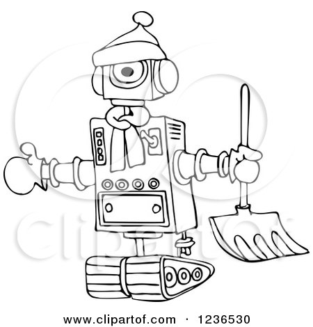 Clipart of a Black and White Winter Robot with a Snow Shovel - Royalty Free Vector Illustration by djart