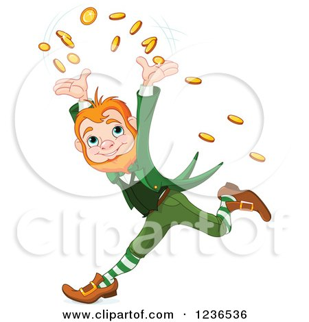 Clipart of a Cheerful Leprechaun Tossing Coins and Running - Royalty Free Vector Illustration by Pushkin