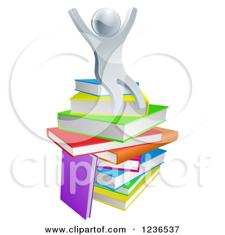 Clipart of a 3d Silver Person Sitting and Cheering on a Stack of Books - Royalty Free Vector Illustration by AtStockIllustration