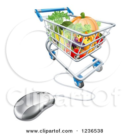 Clipart of a 3d Computer Mouse Connected to an Online Shopping Cart with Produce - Royalty Free Vector Illustration by AtStockIllustration