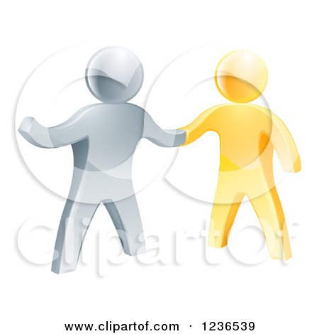 Clipart of a Handshake Between 3d Gold and Silver Men - Royalty Free Vector Illustration by AtStockIllustration