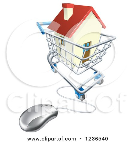 Clipart of a 3d Computer Mouse Connected to an Online Shopping Cart with a House - Royalty Free Vector Illustration by AtStockIllustration