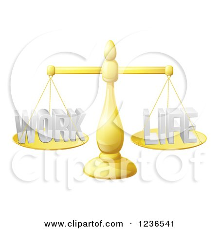 Clipart of a 3d Golden Scales Balancing Work and Life Equally - Royalty Free Vector Illustration by AtStockIllustration
