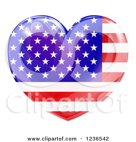 Clipart Of A 3d Reflective American Flag Heart Royalty Free Vector Illustration