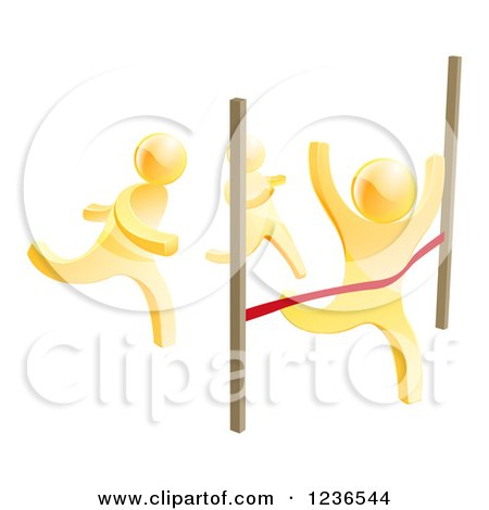 Clipart of 3d Gold Men Racing, One Crossing the Finish Line - Royalty Free Vector Illustration by AtStockIllustration