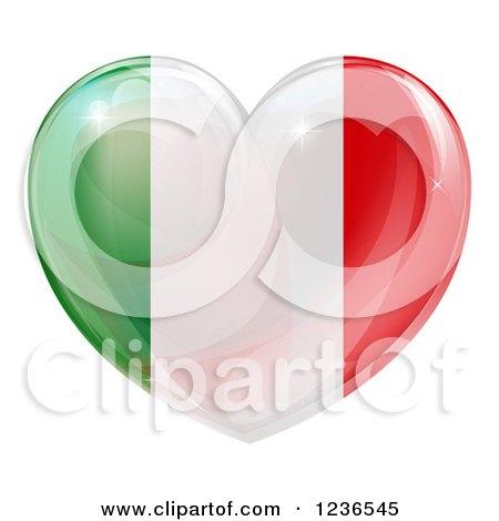 Clipart of a 3d Reflective Italian Flag Heart - Royalty Free Vector Illustration by AtStockIllustration