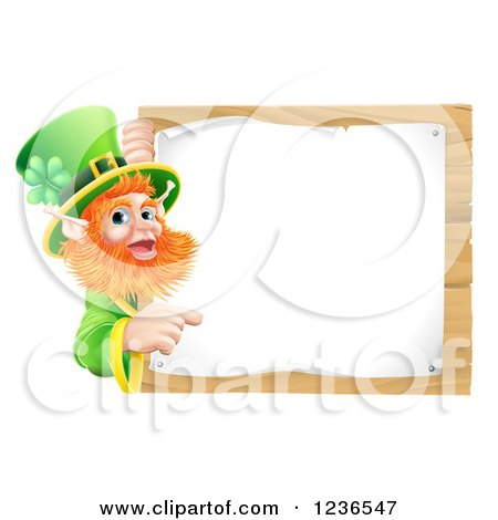 Clipart of a St Patricks Day Leprechaun Pointing to a Notice on a Wooden Sign - Royalty Free Vector Illustration by AtStockIllustration