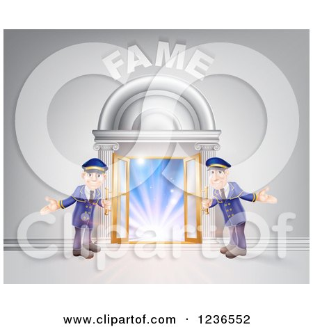 Clipart of a FAME Venue Entrance with Welcoming Friendly Doormen - Royalty Free Vector Illustration by AtStockIllustration