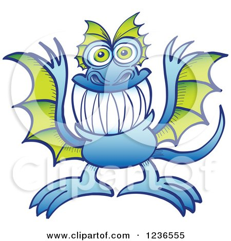 Clipart of a Blue Dragon Monster with Green Wings - Royalty Free Vector Illustration by Zooco