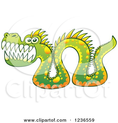 Clipart of a Green Sea Serpent Monster - Royalty Free Vector Illustration by Zooco