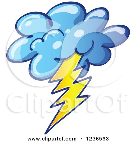 Clipart of a Storm Cloud with Lightning - Royalty Free Vector Illustration by Zooco