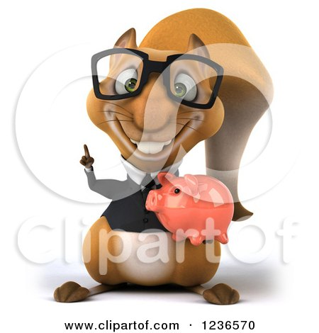 Clipart of a 3d Bespectacled Business Squirrel Holding a Piggy Bank and Pointing up - Royalty Free Illustration by Julos