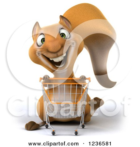 Clipart of a 3d Squirrel Pushing a Shopping Cart - Royalty Free Illustration by Julos