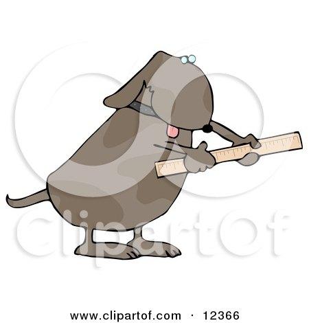 Handy Dog Using a Ruler Clip Art Illustration by djart