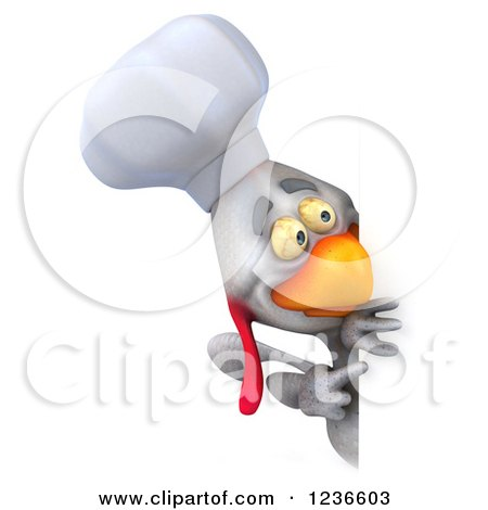 3d White Chef Chicken Pointing and Looking Around a Sign 2 Posters, Art Prints