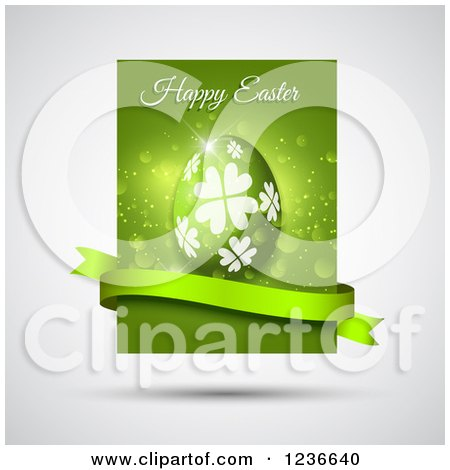 Clipart of a Green Happy Easter Greeting and Egg with a Banner over Gray - Royalty Free Vector Illustration by KJ Pargeter