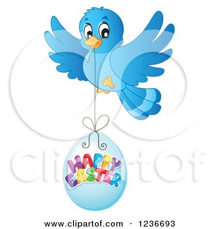 Clipart of a Blue Bird Flying with a Happy Easter Egg - Royalty Free Vector Illustration by visekart