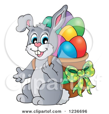 Clipart of a Gray Bunny Carrying a Basket of Easter Eggs on His Back - Royalty Free Vector Illustration by visekart