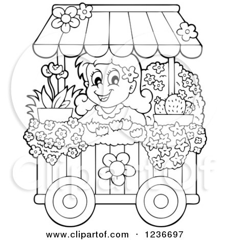 Clipart Of A Black And White Happy Girl Working At Flower Shop Florist Cart