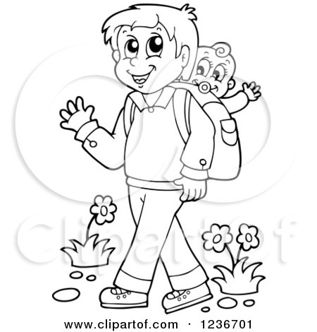 Clipart of a Black and White Father Waving and Walking with His Baby on His Back - Royalty Free Vector Illustration by visekart